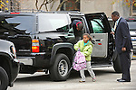 Malia and Sasha Obama, daughters of U.S. President Elect Barack Obama, get dropped off for school at the University of Chicago Laboratory School as their dad waits in the car in Chicago, Illinois on Nov. 13, 2008.  Obama is working mostly in the Chicago area as he prepares for his transition to become the 44th U.S. President.