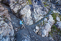 Along stage 6 of the Walker's Haute Route, between Cabane du Mont Fort and Cabane du Prafleuri, Switzerland.