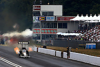 Aug. 3, 2013; Kent, WA, USA: NHRA top fuel dragster driver Tony Schumacher during qualifying for the Northwest Nationals at Pacific Raceways. Mandatory Credit: Mark J. Rebilas-USA TODAY Sports
