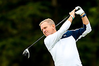 Jeremy Kyle tees off during the Graham Wylie Foundation- Have A Heart- golf day with Lee Westwood and Ronan Keating at Close House Golf Club, Heddon on the wall, England on 10 September 2018. Photo by Thomas Gadd.