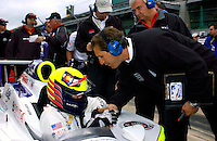 Pole Weekend for the 87th Indianapolis 500, Indianapolis Motor Speedway, Speedway, Indiana, USA  25 May,2003.1996 500 winner Buddy Lazier gets congratulations from a crew member after putting his car solidly in the show..World Copyright©F.Peirce Williams 2003 .ref: Digital Image Only..F. Peirce Williams .photography.P.O.Box 455 Eaton, OH 45320.p: 317.358.7326  e: fpwp@mac.com..