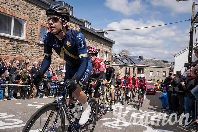Aaron Gate (NZL/Aqua Blue Sport) leading the race up C&ocirc;te de Saint-Roch in  Houffalize<br /> <br /> 103rd Li&egrave;ge-Bastogne-Li&egrave;ge 2017 (1.UWT)<br /> One Day Race: Li&egrave;ge &rsaquo; Ans (258km)