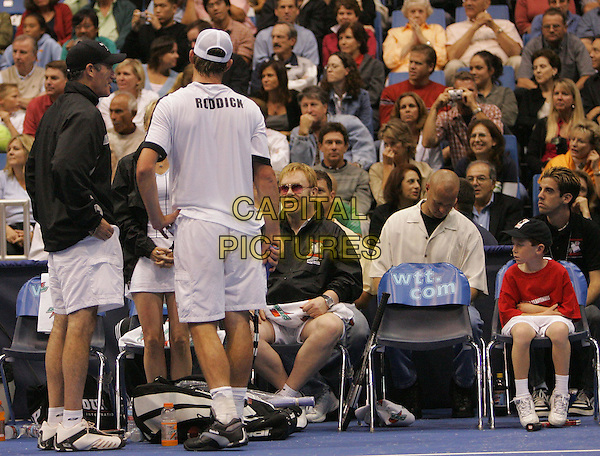 ELTON JOHN.Plays at the 12th Annual World Team Tennis Smash Hits benefiting The Elton John AIDS Foundation held at The Bren Events Center at UC Irvine in Irvine, California, .October 11th 2004..Ref: DVS.www.capitalpictures.com.sales@capitalpictures.com.©Debbie VanStory/Capital Pictures .