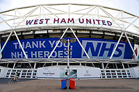 9th May 2020, London Stadium, London, England; The London Stadium, home of West Ham United, deserted during the lockdown for the Covid-19 virus; Giant screen thanking the NHS staff