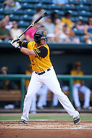 Jacksonville Suns left fielder Austin Dean (3) at bat during a game against the Mississippi Braves on May 1, 2016 at The Baseball Grounds in Jacksonville, Florida.  Jacksonville defeated Mississippi 3-1.  (Mike Janes/Four Seam Images)