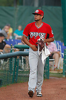 Carolina Mudcats pitcher Victor Diaz (34) walking in from the bullpen before a game against the Myrtle Beach Pelicans at Ticketreturn.com Field at Pelicans Ballpark on June 15 , 2018 in Myrtle Beach, South Carolina. Carolina defeated Myrtle Beach 4-2. (Robert Gurganus/Four Seam Images)
