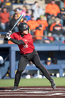 Rutgers Scarlet Knights catcher Tyler McNamara (28) at bat against the Michigan Wolverines on April 26, 2019 in the NCAA baseball game at Ray Fisher Stadium in Ann Arbor, Michigan. Michigan defeated Rutgers 8-3. (Andrew Woolley/Four Seam Images)