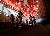 Ohio State Buckeyes running back Ezekiel Elliott (15) and Ohio State Buckeyes offensive lineman Taylor Decker (68) lead the Buckeyes as they come down the tunnel for warmups before their game against Northern Illinois Huskies at Ohio Stadium on September 19, 2015.  (Dispatch photo by Kyle Robertson)