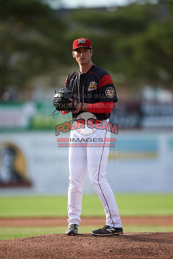 Batavia Muckdogs starting pitcher Reilly Hovis (28) gets ready to deliver a pitch during a game against the State College Spikes on June 22, 2016 at Dwyer Stadium in Batavia, New York.  State College defeated Batavia 11-1.  (Mike Janes/Four Seam Images)