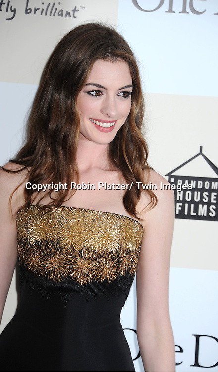 """Anne Hathaway attending the New York Premiere of """"One Day"""" starring ..Anne Hathaway, Jim Sturgess and Patricia Clarkson on ..August 8, 2011 at The AMC Loews Lincoln Square 13 Theatre in New York City."""