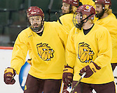 Justin Fontaine (Duluth - 37), Mike Seidel (Duluth - 17) - The University of Minnesota-Duluth Bulldogs practiced on Friday morning, April 8, 2011, during the 2011 Frozen Four at the Xcel Energy Center in St. Paul, Minnesota.