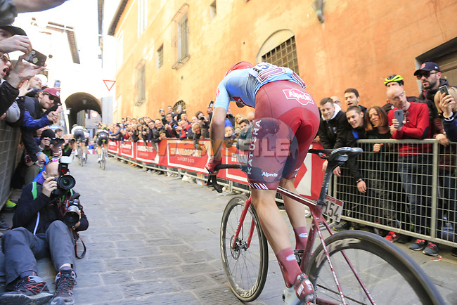 Ruben Guerreiro (POR) Team Katusha Alpecin climbs Via Santa Caterina in Siena in the last km of Strade Bianche 2019 running 184km from Siena to Siena, held over the white gravel roads of Tuscany, Italy. 9th March 2019.<br /> Picture: Eoin Clarke | Cyclefile<br /> <br /> <br /> All photos usage must carry mandatory copyright credit (© Cyclefile | Eoin Clarke)
