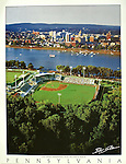 "Poster featuring an aerial view of the Senators stadium on City Island and the city of Harrisburg. White border with the word ""Pennsylvania"" at the bottom with space for framing."