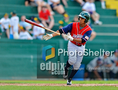 4 July 2012: Vermont Lake Monsters infielder Christopher Bostick in action against the Hudson Valley Renegades at Centennial Field in Burlington, Vermont. The Lake Monsters edged out the Renegades the Cyclones 2-1 in NY Penn League action. Mandatory Credit: Ed Wolfstein Photo