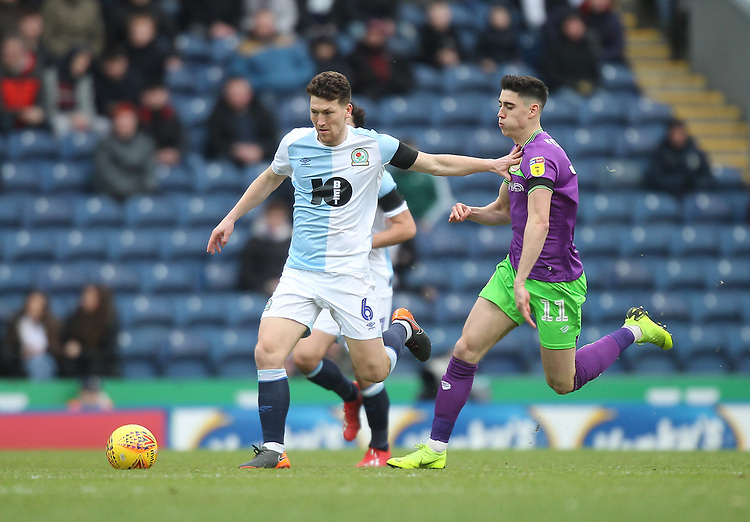 Blackburn Rovers Richard Smallwood  battles with  Bristol City's Callum O'Dowda<br /> <br /> Photographer Mick Walker/CameraSport<br /> <br /> The EFL Sky Bet Championship - Blackburn Rovers v Bristol City - Saturday 9th February 2019 - Ewood Park - Blackburn<br /> <br /> World Copyright &copy; 2019 CameraSport. All rights reserved. 43 Linden Ave. Countesthorpe. Leicester. England. LE8 5PG - Tel: +44 (0) 116 277 4147 - admin@camerasport.com - www.camerasport.com