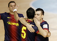 FC Barcelona Alusport's Saad Assis, Gabriel Da Silva (c) and Sergio Lozano celebrate goal during Spanish National Futsal League match.November 24,2012. (ALTERPHOTOS/Acero) /NortePhoto