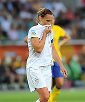 Christie Rampone of team USA reacts during the FIFA Women's World Cup at the FIFA Stadium in Wolfsburg, Germany on July 6thd, 2011.
