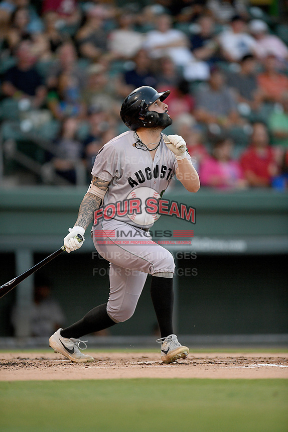 Left fielder Francisco Tostado (8) of the Augusta GreenJackets bats in a game against the Greenville Drive on Thursday, August 29, 2019, at Fluor Field at the West End in Greenville, South Carolina. Augusta won, 11-0. (Tom Priddy/Four Seam Images)