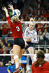 KANSAS CITY, KS - DECEMBER 14: Ali Frantti #5 of Penn State University hits a kill against the University of Nebraska during the Division I Women's Volleyball Semifinals held at Sprint Center on December 14, 2017 in Kansas City, Missouri. (Photo by Tim Nwachukwu/NCAA Photos via Getty Images)