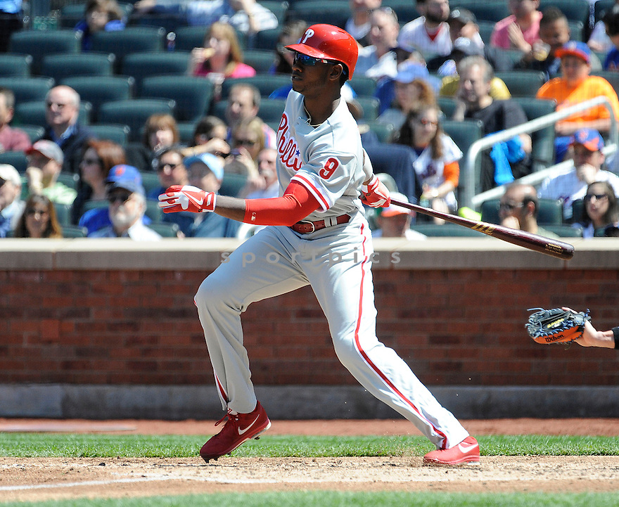 Philadelphia Phillies Domonic Brown (9) during a game against the New York Mets on April 27, 2013 at Citi Field in New York, NY. The Phillies beat the Mets 9-4..