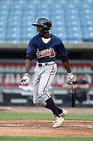 Bakari Gayle (11) of Martin Luther King High School in Stone Mountain, Georgia playing for the Atlanta Braves scout team during the East Coast Pro Showcase on August 1, 2014 at NBT Bank Stadium in Syracuse, New York.  (Mike Janes/Four Seam Images)