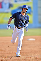 Asheville Tourists right fielder Willie Abreu (6) rounds the bases during a game against the Lakewood BlueClaws at McCormick Field on June 3, 2017 in Asheville, North Carolina. The Tourists defeated the BlueClaws 10-7. (Tony Farlow/Four Seam Images)