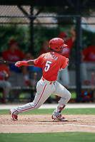 GCL Phillies West shortstop Luis Garcia (5) follows through on a swing during a game against the GCL Blue Jays on August 7, 2018 at Bobby Mattick Complex in Dunedin, Florida.  GCL Blue Jays defeated GCL Phillies West 11-5.  (Mike Janes/Four Seam Images)