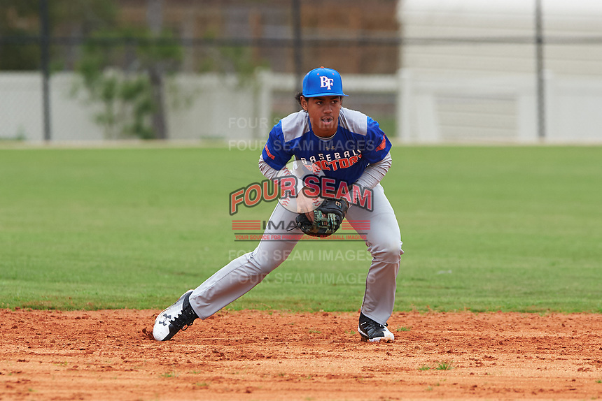 Emilio Portes (5) of Miami Gardens, Florida during the Baseball Factory All-America Pre-Season Rookie Tournament, powered by Under Armour, on January 13, 2018 at Lake Myrtle Sports Complex in Auburndale, Florida.  (Michael Johnson/Four Seam Images)