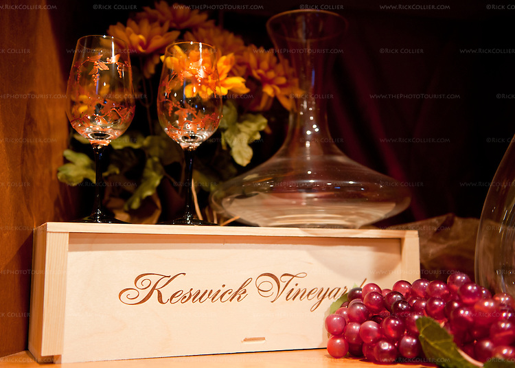Seasonally decorated glassware and thematic decor on display in the tasting room at Keswick Vineyards.