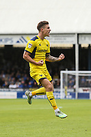 Josh Ruffels of Oxford United (left) celebrates after he scores his team's first goal of the game to make the score 1-1 during the Sky Bet League 1 match between Peterborough and Oxford United at the ABAX Stadium, London Road, Peterborough, England on 30 September 2017. Photo by David Horn.