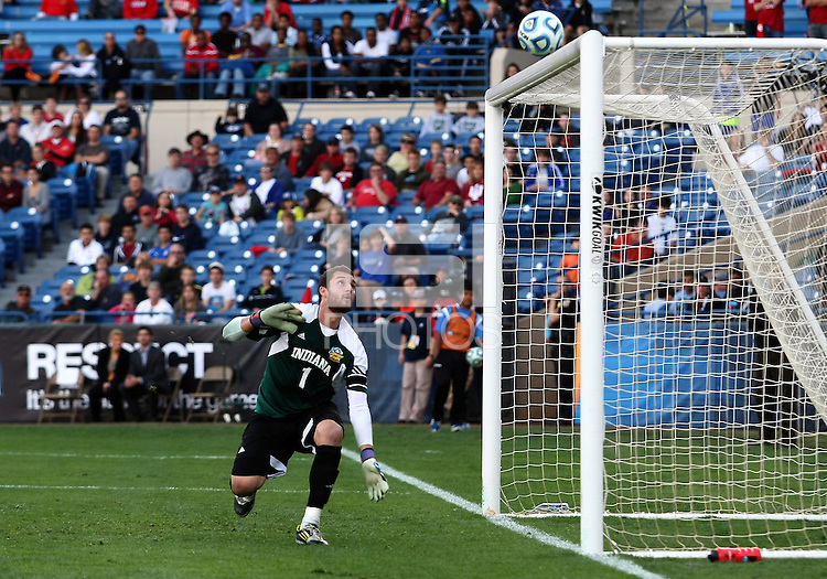 HOOVER, AL - DECEMBER 09, 2012: Luis Soffner (1) of Indiana University watches a shot hit the crossbar in the last minute of play against of Georgetown University during the NCAA 2012 Men's College Cup championship, at Regions Park, in Hoover , AL, on Sunday, December 09, 2012.