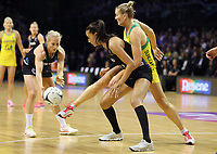 18.10.2018 Silver Ferns Maria Folau and Australia's Courtney Bruce in action during the Silver Ferns v Australia netball test match at the TSB Arena in Wellington. Mandatory Photo Credit ©Michael Bradley.