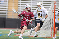 Towson, MD - May 6, 2017: UMASS Minutemen Jeff Trainor (2) passes the ball during game between Towson and UMASS at  Minnegan Field at Johnny Unitas Stadium  in Towson, MD. May 6, 2017.  (Photo by Elliott Brown/Media Images International)