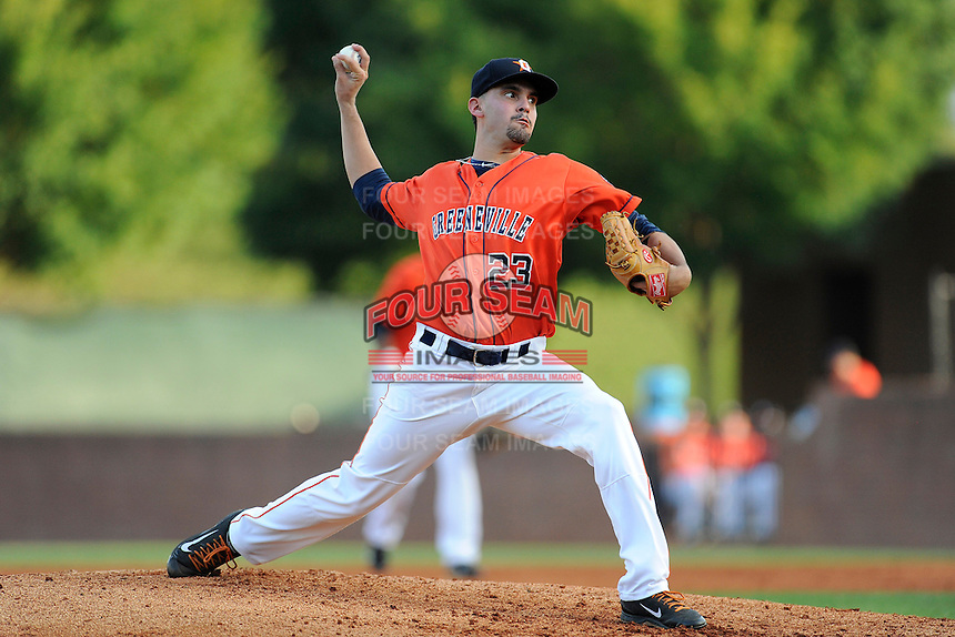 Pitcher Agapito Barrios (23) of the Greeneville Astros delivers a pitch in a game against the Bristol Pirates on Friday, July 25, 2014, at Pioneer Park in Greeneville, Tennessee. Greeneville won, 9-4. (Tom Priddy/Four Seam Images)