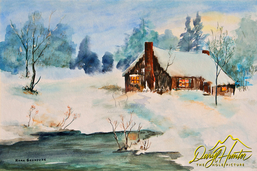 Watercolor. cabin. winter. pond. forest. warm glow. peaceful scene, bucolic, rustic,