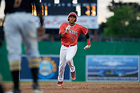 Batavia Muckdogs right fielder Jerar Encarnacion (27) runs the bases during a game against the West Virginia Black Bears on June 19, 2018 at Dwyer Stadium in Batavia, New York.  West Virginia defeated Batavia 7-6.  (Mike Janes/Four Seam Images)