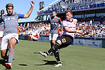 09 October 2016: Fort Lauderdale's Manny Gonzalez (COL) (23) has his cross blocked by Carolina's Nazmi Albadawi (10). The Carolina RailHawks hosted the Fort Lauderdale Strikers at WakeMed Soccer Park in Cary, North Carolina in a 2016 North American Soccer League Fall Season match. Carolina won the game 3-0.