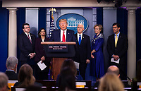 United States President Donald J. Trump delivers remarks on the COVID-19 (Coronavirus) pandemic during a Coronavirus Task Force briefing in the Brady Press Briefing Room at the White House in Washington, DC, March 18, 2020, in Washington, D.C.  Standing behind the President are, from left to right: US Secretary of Veterans Affairs (VA) Robert Wilkie, Seema Verma, Administrator, Centers for Medicare and Medicaid Services, US Vice President Mike Pence, Dr. Deborah L. Birx, White House Coronavirus Response Coordinator, and US Secretary of Defense Dr. Mark T. Esper.<br /> Credit: Kevin Dietsch / Pool via CNP/AdMedia