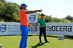 Johan Edfors (SWE) and Luke Donald (ENG) after teeing off on the 15th tee during the morning session on Day 3 of the Volvo World Match Play Championship in Finca Cortesin, Casares, Spain, 21st May 2011. (Photo Eoin Clarke/Golffile 2011)