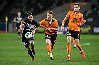 29th July 2020; Bankwest Stadium, Parramatta, New South Wales, Australia; A League Football, Melbourne Victory versus Brisbane Roar; Corey Brown of Brisbane Roar tries to hold back Marco Rojas of Melbourne Victory