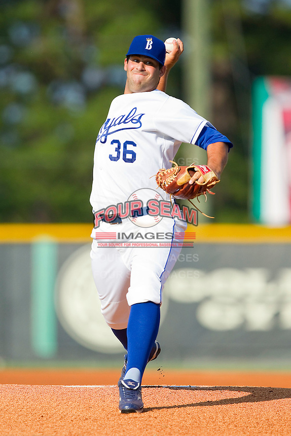 Starting pitcher Andrea Pizziconi #36 of the Burlington Royals in action against the Bristol White Sox at Burlington Athletic Park on July 10, 2011 in Burlington, North Carolina.  The White Sox defeated the Royals 4-3.   (Brian Westerholt / Four Seam Images)