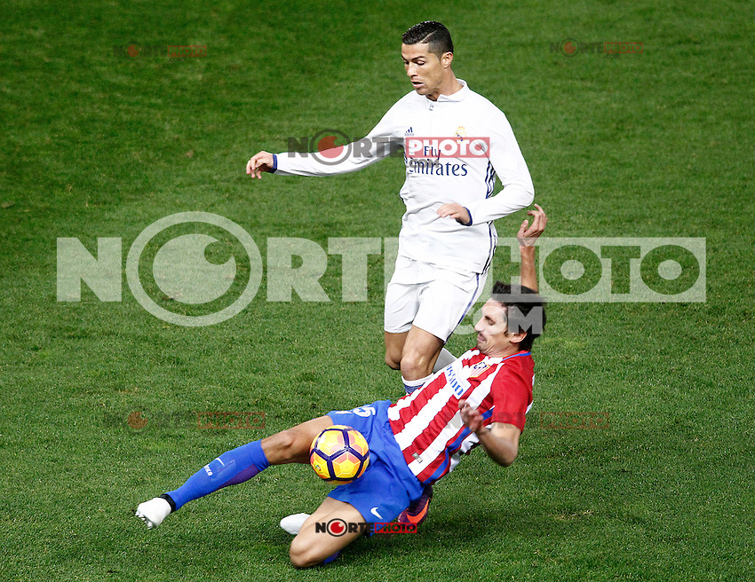 Atletico de Madrid's Stefan Savic (r) and Real Madrid's Cristiano Ronaldo during La Liga match. November 19,2016. (ALTERPHOTOS/Acero) /NORTEPHOTO.COM