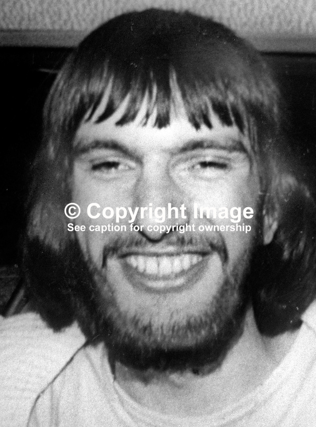 David Robinson, 23 years, single, from Larne, Co Antrim, one of two fatalaties, as the result of a no-warning bomb left in the Club Bar by the UDA, Ulster Defence Association, on 28th May 1976. The bar attracted a cross-community clientele particularly students from the nearby Queen's University campus. 197605280295 <br />