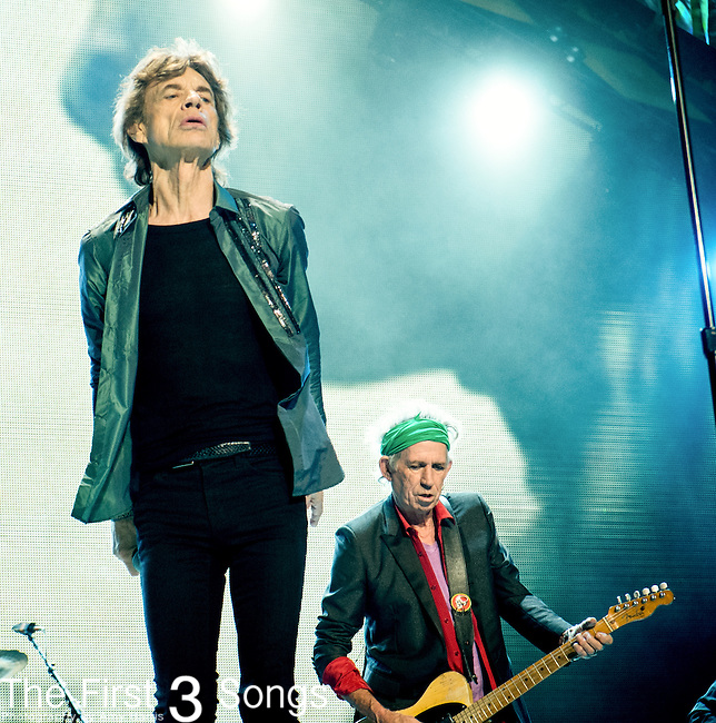 Mick Jagger and Keith Richards of The Rolling Stones perform at TD Garden in Boston, Massachusetts.