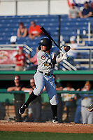 West Virginia Black Bears Cory Wood (27) at bat during a NY-Penn League game against the Batavia Muckdogs on June 26, 2019 at Dwyer Stadium in Batavia, New York.  Batavia defeated West Virginia 4-2.  (Mike Janes/Four Seam Images)