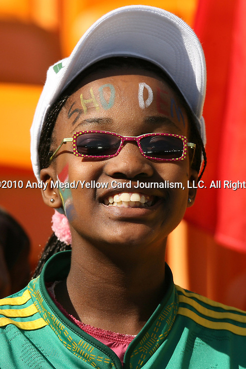 11 JUN 2010: South African fan in the stands of the Soccer City Stadium, pregame. The South Africa National Team played the Mexico National Team at Soccer City Stadium in Johannesburg, South Africa in the opening match of the 2010 FIFA World Cup.