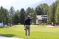 Jorge Campillo (ESP) takes a free drop on the 1st hole during Thursday's Round 1 of the 2017 Omega European Masters held at Golf Club Crans-Sur-Sierre, Crans Montana, Switzerland. 7th September 2017.<br /> Picture: Eoin Clarke | Golffile<br /> <br /> <br /> All photos usage must carry mandatory copyright credit (&copy; Golffile | Eoin Clarke)