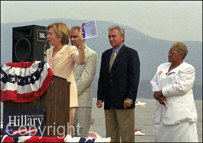 First Lady Hillary Clinton addresses the crowd at the Newburgh water front during her 2000 senate campaign.
