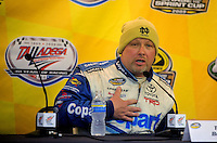 Oct. 31, 2009; Talladega, AL, USA; NASCAR Camping World Truck Series driver Todd Bodine during a post race press conference following the Mountain Dew 250 at the Talladega Superspeedway. Mandatory Credit: Mark J. Rebilas-