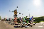Leading group at Adsteeg near windmill with, Pim Ligthart (NED, LTB), Van Hecke, Alexey Lutsenko, Matej Mohoric (Cannondale), Manuel Belletti (Androni Venezuela), Pirmin Lang (IAM Cycling), James Van Landschoot (Wanty-Groupe Gobert) and Nicola Boem (Bardiani CSF) Amstel Gold Race, 20th April 2014, Photo by Thomas van Bracht / www.pelotonphotos.com